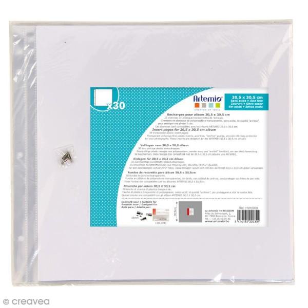 Pochettes transparentes album photo 30,5 x 30,5 cm - 30 feuilles - Photo n°1