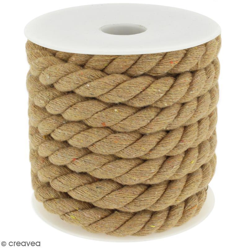 Corde tressée - Beige naturel - 10 mm - Au mètre (sur mesure) - Photo n°1