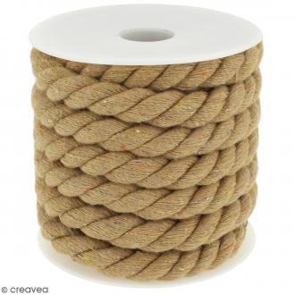 Corde tressée - Beige naturel - 10 mm - Au mètre (sur mesure)