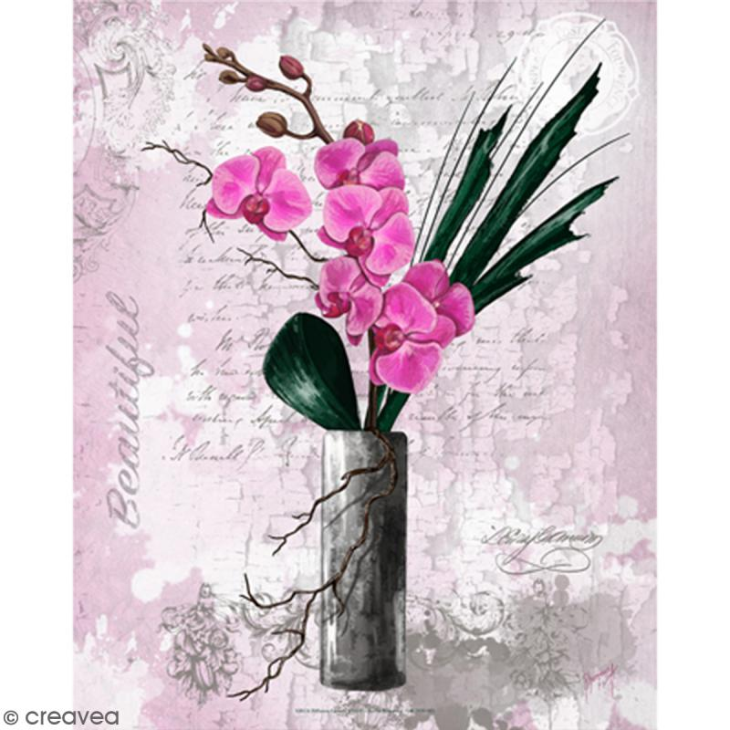 Image 3D - Orchidée rose et vase haut - 24 x 30 cm - Photo n°1