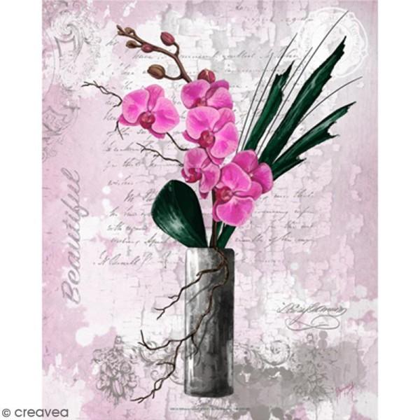 Image 3D - Orchidée rose et vase haut - 24 x 30 cm - Photo n°1