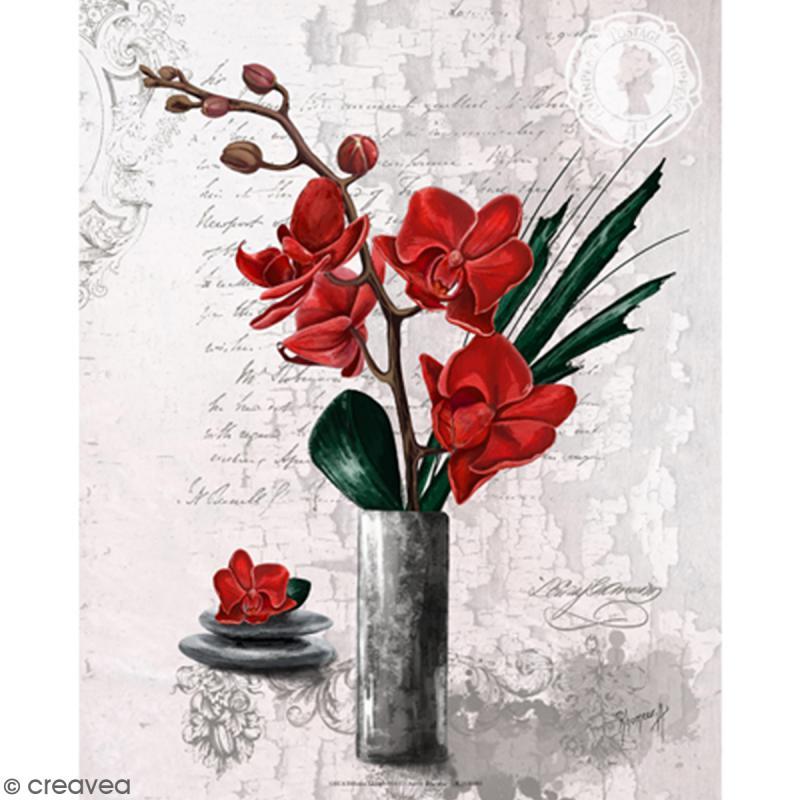 Image 3D - Orchidées rouges et vase haut - 24 x 30 cm - Photo n°1