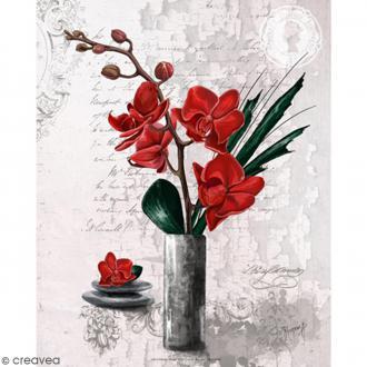 Image 3D - Orchidées rouges et vase haut - 24 x 30 cm
