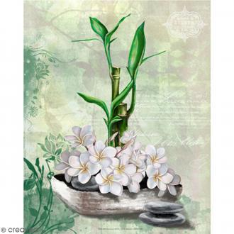 Image 3D - Bambou et fleurs de coco - 24 x 30 cm