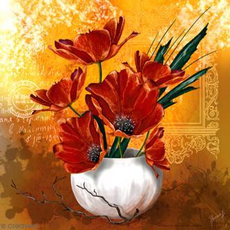 Image 3D - Vase de coquelicots - 30 x 30 cm