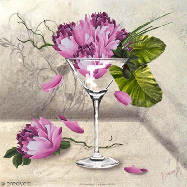 Image 3D - Martini flowers - 30 x 30 cm - Photo n°1
