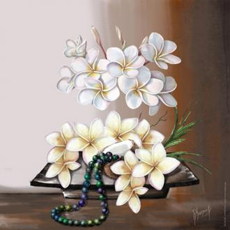 Image 3D - Composition florale fleurs de coco - 30 x 30 cm