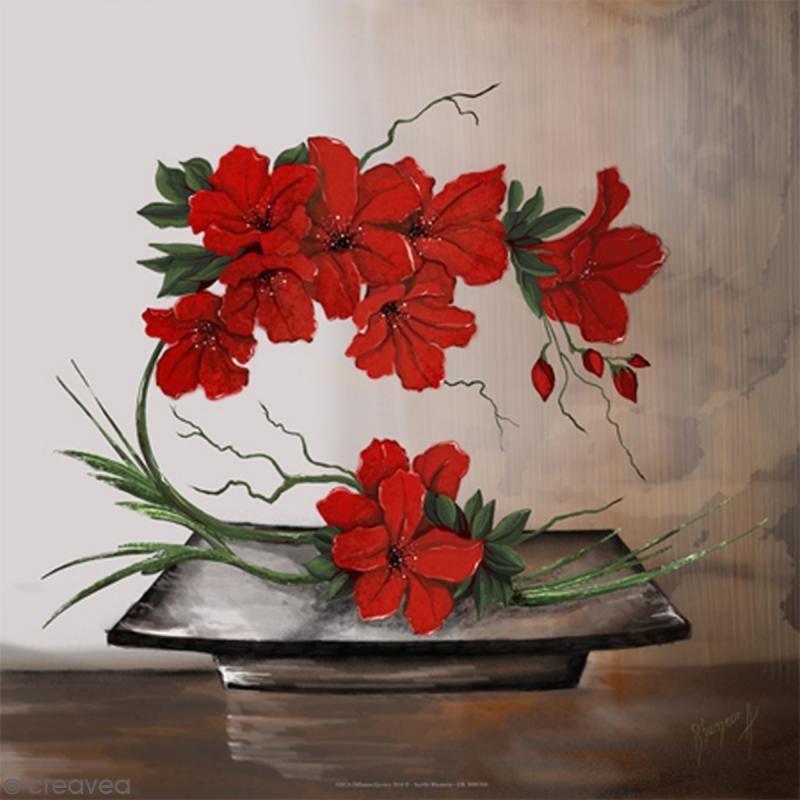Image 3D - Composition florale rouge - 30 x 30 cm - Photo n°1