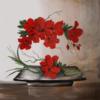 Image 3D - Composition florale rouge - 30 x 30 cm