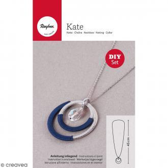 Kit bijou collier sautoir Kate - Argenté et Bleu