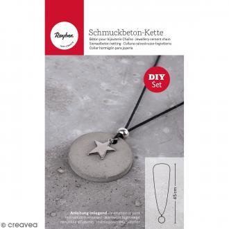 Kit collier et pendentif béton créatif - Modèle Rond