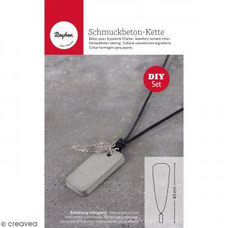 Kit collier et pendentif béton créatif - Modèle Rectangle