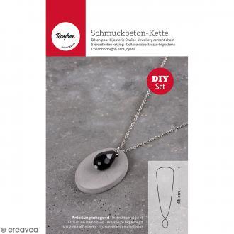 Kit collier et pendentif béton créatif - Modèle Ovale
