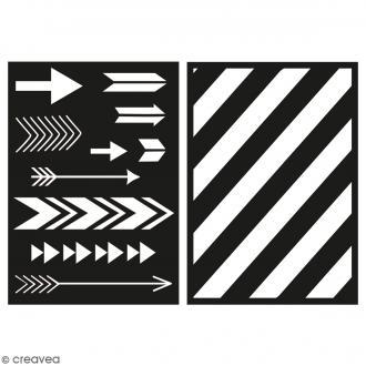 Lot de pochoirs adhésifs - Flèches et rayures - A5 - 2 planches