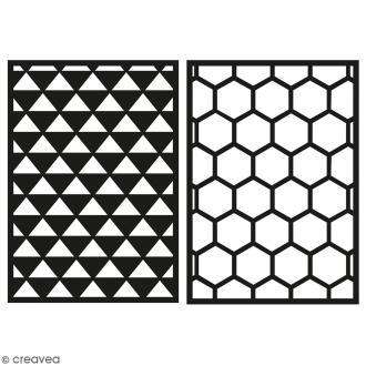Lot de pochoirs adhésifs - Triangle et nid d'abeille - A5 - 2 planches