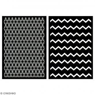 Lot de pochoirs adhésifs - Rosaces et zigzag - A5 - 2 planches