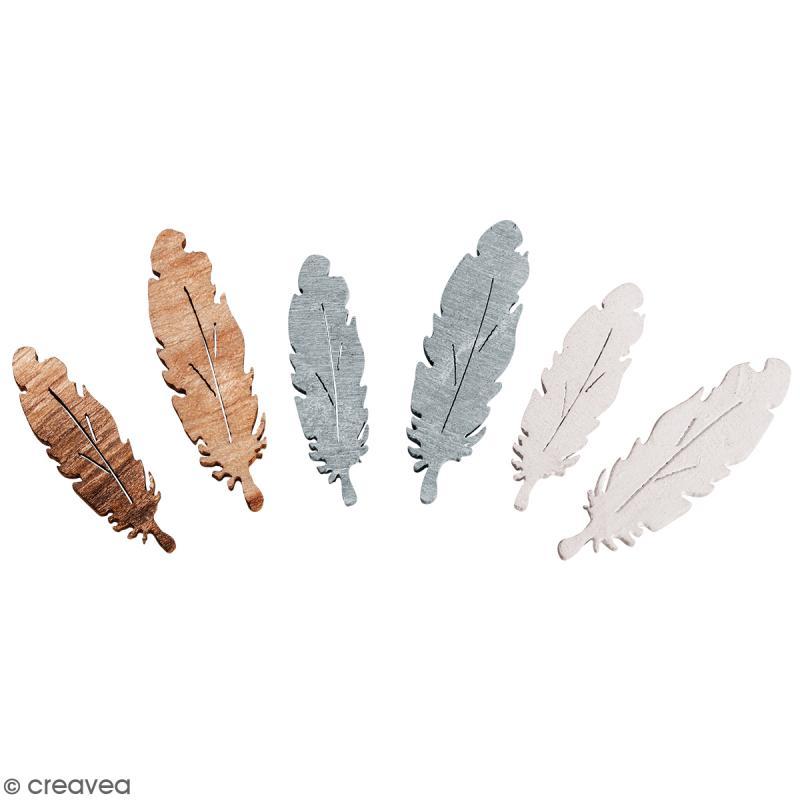 Miniatures en bois - Plumes - 1 x 3 cm - 15 pcs - Photo n°1