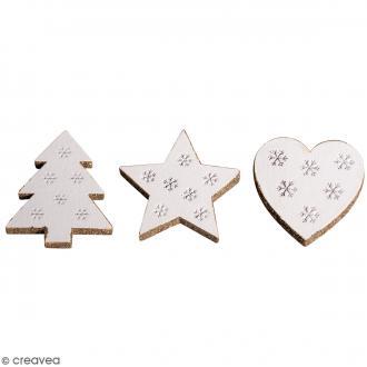 Miniatures en bois - Etoiles, sapins - 3,5 x 4 cm - 8 pcs