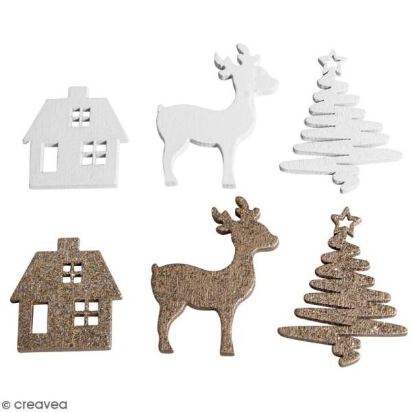 Miniatures en bois - Rennes, maisons, sapins - 3 à 4 cm - 12 pcs - Photo n°1