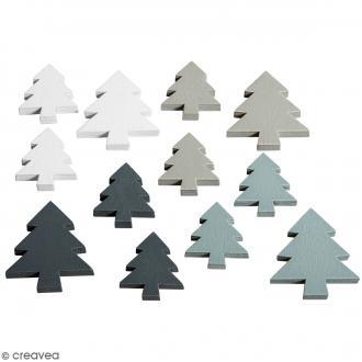 Miniatures en bois - Sapins - 3,5 et 2,5 cm - 12 pcs