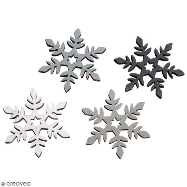 Miniatures en bois - Flocons de neige - 3,5 cm - 12 pcs - Photo n°1