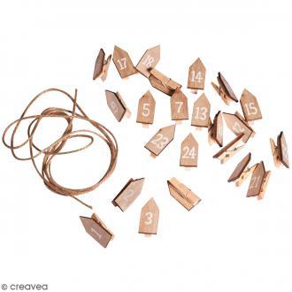 Pinces à linge sur corde pour Calendrier de l'Avent - Maisons - 24 pcs