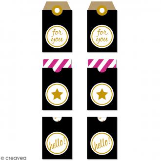 Etiquettes Tag - For you - Noir, doré - 3,2 x 5,3 cm - 6 pcs