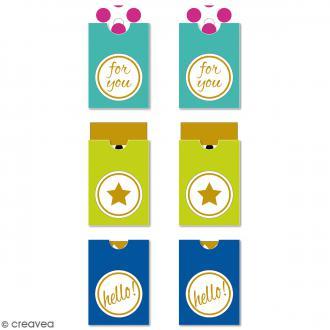 Etiquettes Tag - For you - Vert, bleu - 3,2 x 5,3 cm - 6 pcs