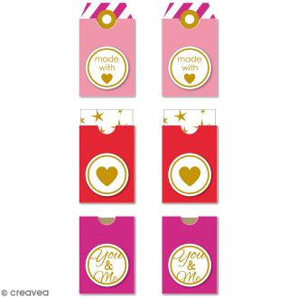 Etiquettes Tag - Made with with love - Rouge, rose - 3,2 x 5,3 cm - 6 pcs
