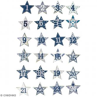 Stickers étoiles pour Calendrier de l'avent - Bleu, argenté - 24 pcs