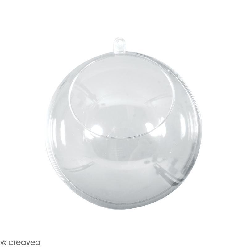 boule ouverte en plastique transparent 8 cm boules et suspensions verre creavea. Black Bedroom Furniture Sets. Home Design Ideas