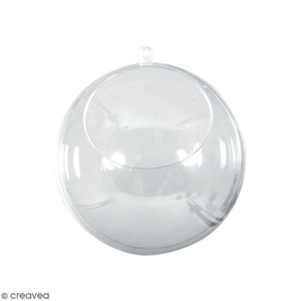 Boule ouverte en plastique transparent - 8 cm - Photo n°1