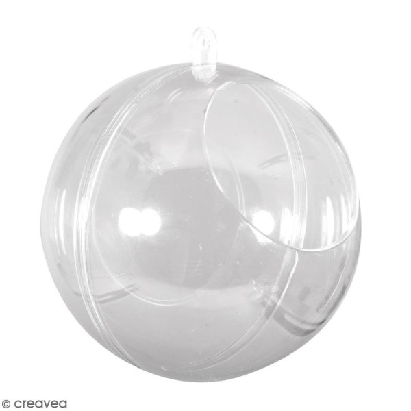 Boule ouverte en plastique transparent - 10 cm - Photo n°1