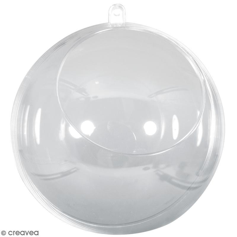 Boule ouverte en plastique transparent - 12 cm - Photo n°1
