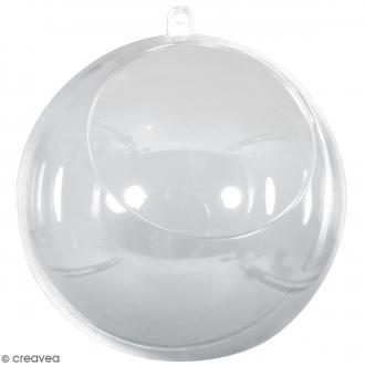 Boule ouverte en plastique transparent - 12 cm