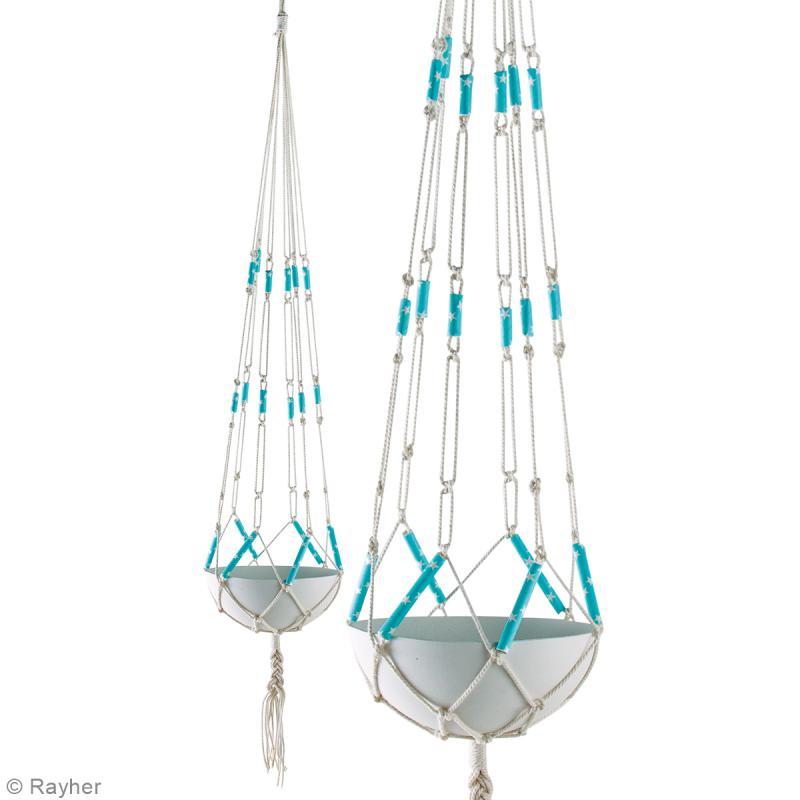 kit suspension b ton et macram bleu pour 4. Black Bedroom Furniture Sets. Home Design Ideas