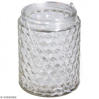Récipient en verre - Gaufré - 11 x11 x 13,5 cm
