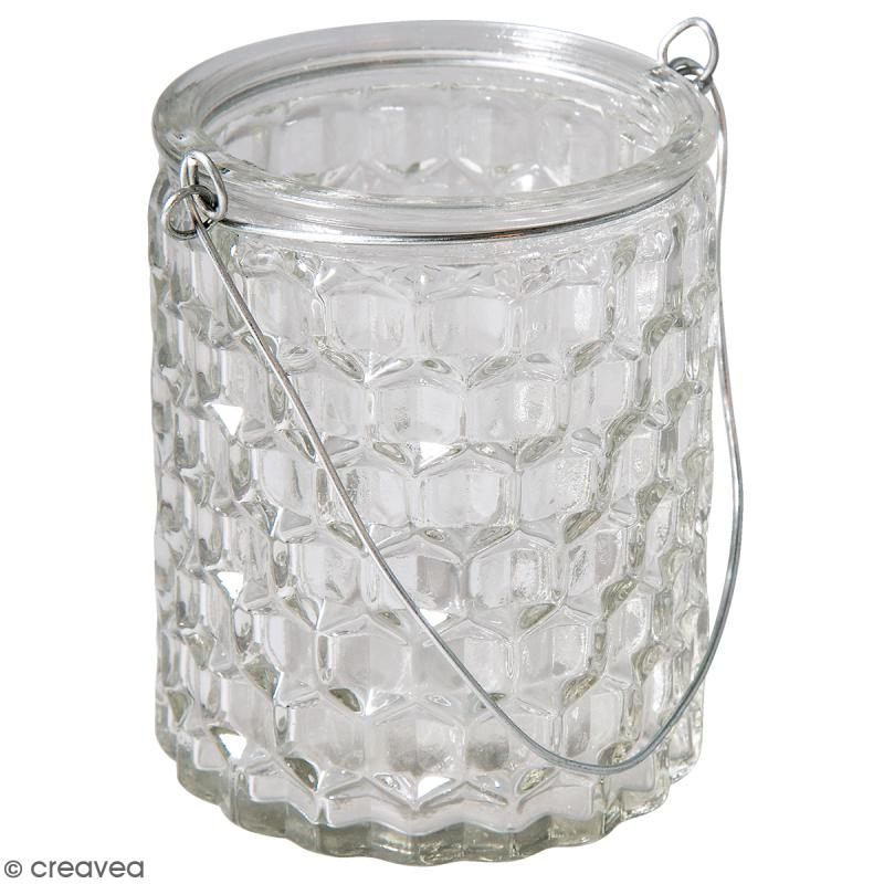 r cipient en verre gaufr 7 5 x 7 5 x 9 cm boules vases et suspensions creavea. Black Bedroom Furniture Sets. Home Design Ideas