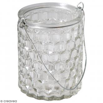 Récipient en verre - Gaufré - 7,5 x 7,5 x 9 cm