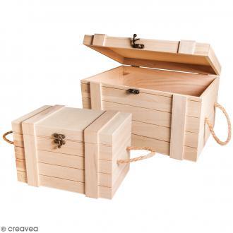 Lot de coffres gigognes en bois - 2 formats - 2 pcs