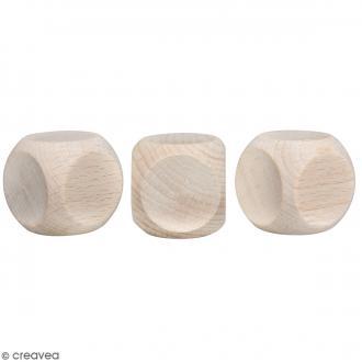 Cubes en bois - 3 x 3 cm - 3 pcs