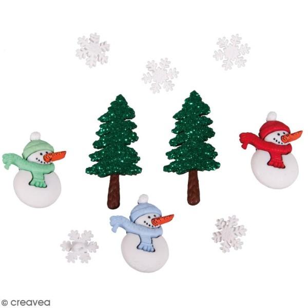 Assortiment boutons fantaisies - Noël cool - 2,5 cm - 10 pcs - Photo n°1