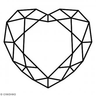 Tampon Bois Artemio - Coeur Diamant - 4 x 3,7 cm