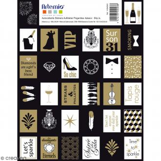 Stickers timbres décoratifs - Gold - 3,3 x 2,7 cm - 64 pcs