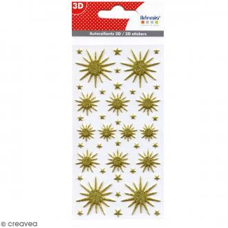 Stickers Puffies pailletés - Etoiles dorées - 41 autocollants