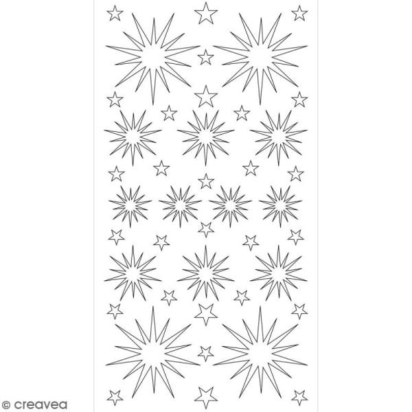 Stickers Puffies pailletés - Etoiles blanches - 41 autocollants - Photo n°2