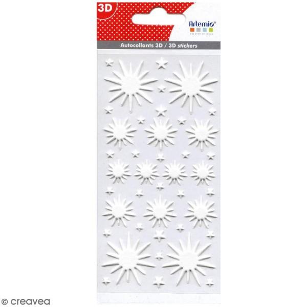 Stickers Puffies pailletés - Etoiles blanches - 41 autocollants - Photo n°1