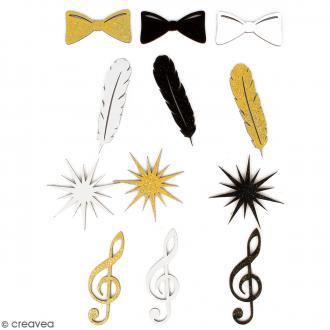 Silhouettes pailletées en bois - Gold Plumes - 12 pcs