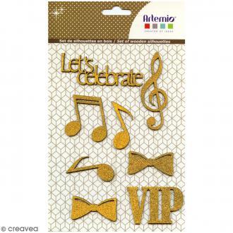Silhouettes pailletées en bois - Gold VIP - 8 pcs