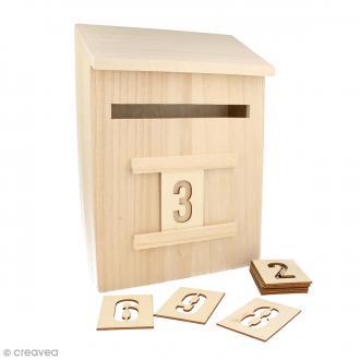 Calendrier de l'avent Boîte à lettres avec chiffres - Bois - 20 x 28 x 9,5 cm